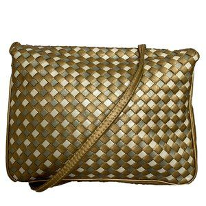 Vintage Woven Silver and Gold Crossbody Bag